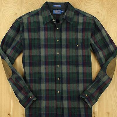 usa made PENDLETON wool trail shirt w/ elbow patches, sz XLT / extra large long