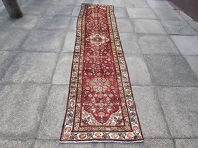 Old Traditional Hand Made Persian Rug Oriental Wool Red Narrow Runner 310x69cm