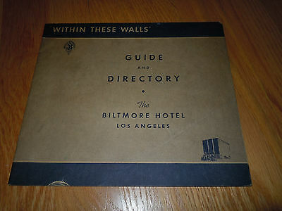 1930's LOS ANGELES BILTMORE HOTEL GUIDE AND DIRECTORY