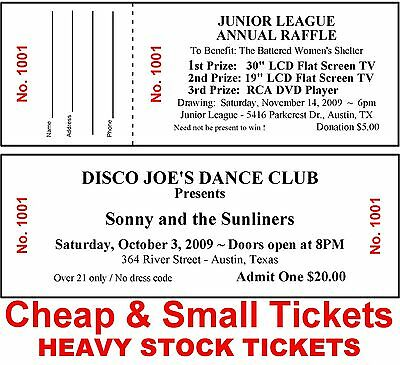 250 RAFFLE/ADMISSION-EVENT TICKETS~DRAWING Custom Printed Cheap&Small Heavyweigh