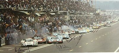 LE MANS 1970 START POSTER SIGNED by 5: REDMAN + ELFORD + BELL + HOBBS + GALLI