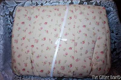 Rachel Ashwell Shabby Chic Home Baby Girl Crib Skirt Tan Pink Roses NEW B7