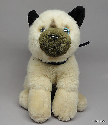 German Plush Siamese Kitty Cat 18cm 7in Blue Eyes Weighted Unjointed Vintage