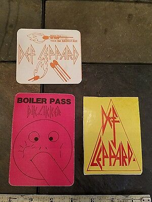 DEF LEPPARD 1983 Pyromania Tour Backstage Pass stickers lot of 3 , Rare