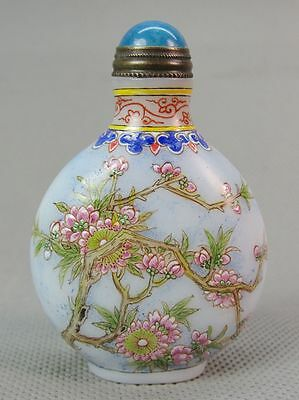 Chinese Plum blossom Hand Painted Peking Enamel Glass Snuff Bottle