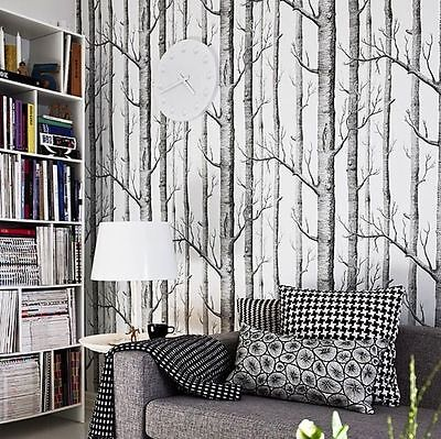 Modern Rustic Black White Sketch branches Birch Tree Wallpaper SAMPLE ONLY