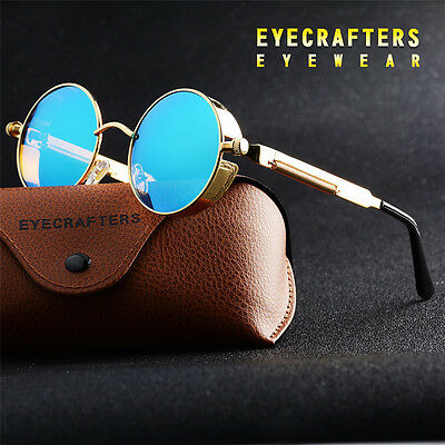 Hot Vintage Polarized Steampunk Sunglasses Fashion Round Mirrored Retro Eyewear