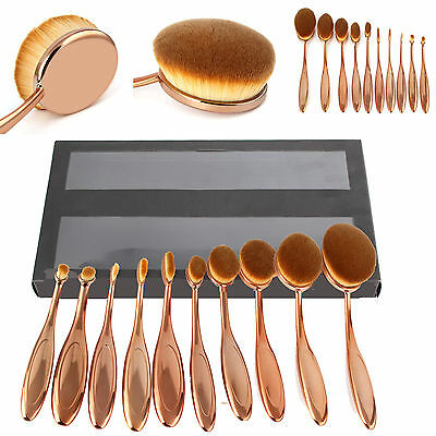 New 10Pcs Makeup Brushes Pro Set Tool Oval Make-up beauty Kabuki Toothbrush+Box