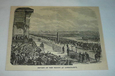 1877 magazine engraving ~ REVIEW OF THE TROOPS AT LONGCHAMPS
