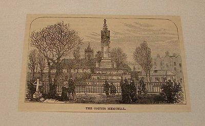 1886 magazine engraving ~ COUTTS MEMORIAL