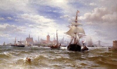 Oil painting Edward Moran City Harbor of New York with sail boats Hand painted
