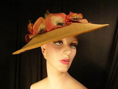 ~Chic vintage '50s straw PICTURE hat~poppies~WIDE brim~black velvet crown~