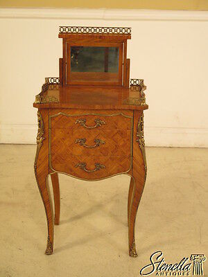 23782E: French Louis XIV Marquetry Satinwood 3 Drawer Nightstand Commode