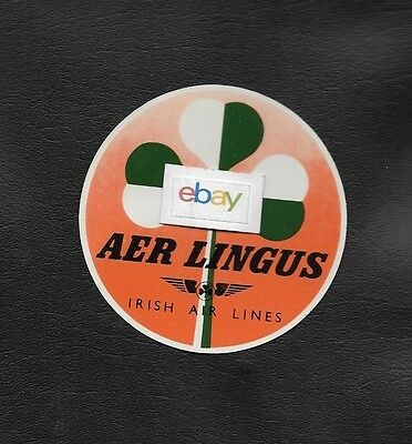 Aer Lingus Irish Air Lines 1940's Shamrock Baggage Label Glue Style
