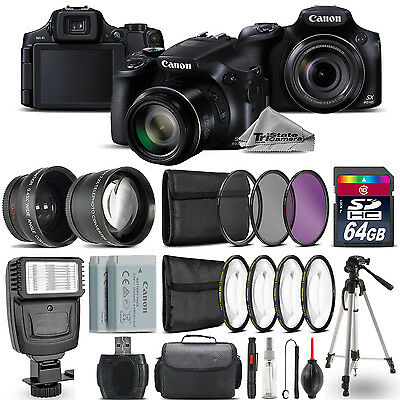 Canon PowerShot SX60 HS Camera + Wide Angle & Telephoto Lens + Flash -64GB Kit