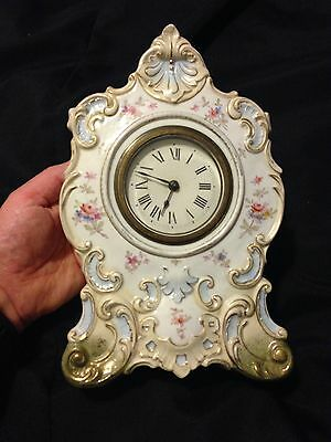 Victorian Porcelain Mantle Clock Possibly French Painted Flowers Vtg Antique