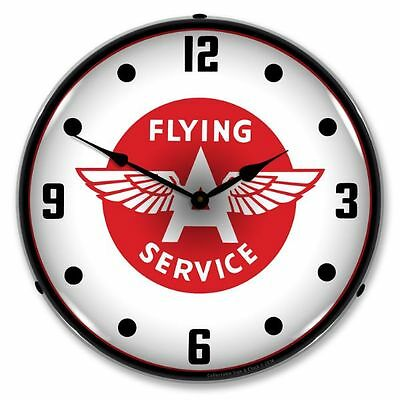 FREE SHIP* NEW  FLYING A  RETRO LED LIGHTED ADVERTISING GAS STATION CLOCK