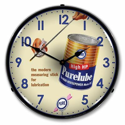 New Purelube Oil Retro Advertising Backlit Lighted Clock - Free Shipping*