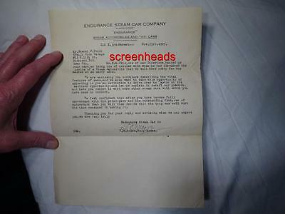 1925 ADVERTISING RARE ENDURANCE STEAM CAR CO. AUTOMOBILE LETTER Last Year