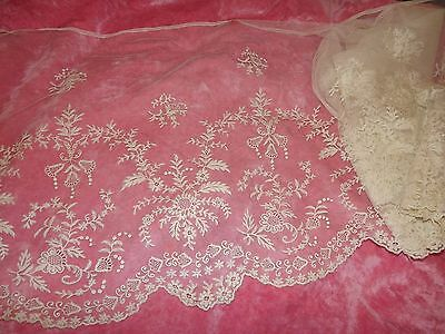 """2.6 yds ANTIQUE Embroidered Net Scalloped Floral LACE Cream 18"""" w VINTAGE 1900's"""