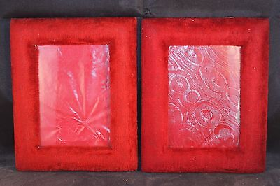 Sublime pair of antique French red velvet picture frames. c1900 Wall mount 3of 3