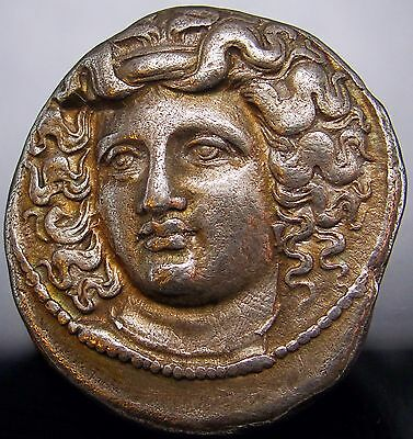Nymph of Larissa.Spectacular. Gold iridescent Ancient Greek coin from THESSALY.