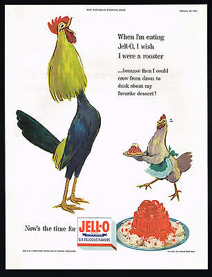 1954 Jell-o Rooster Chicken Carrying Jello Mold Art Vintage Color Print Ad