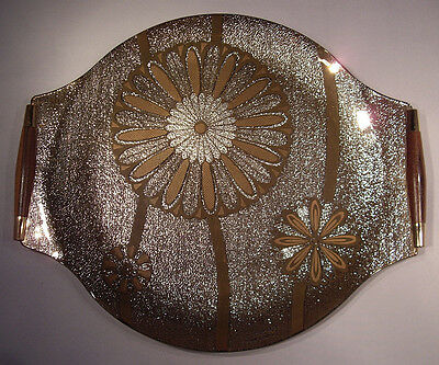 Mid-Century Teak Handled Tray signed Georges Briard 3 flowers gold & siver used