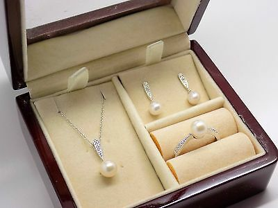 10k Freshwater Pearl & Diamond Set Jewelry Ring Necklace Earrings Boxed NEW 652