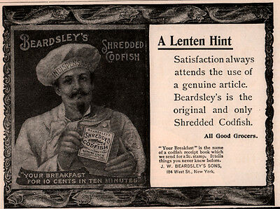 Ad Lot Of 2 1894 A -  1896 Ads Beardsley Shredded Codfish Chef Hat Lenten