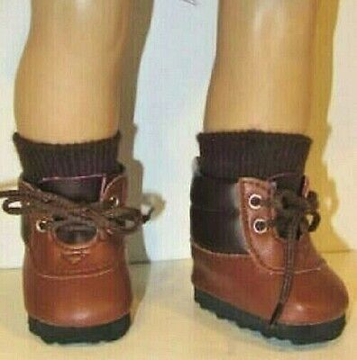 """Brown Hiking Boots Fits 18"""" American Girl Doll,18 Inch Doll Shoes Casual"""