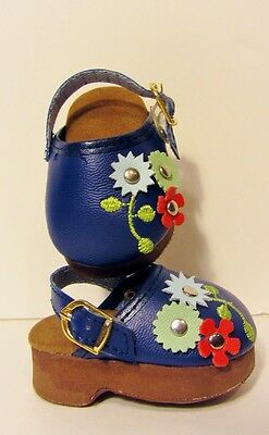 """NAVY BLUE Floral Doll Shoes Clogs Fits 18"""" American Girl Clothes"""