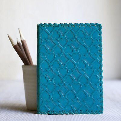 Blue Leather Blank Journal Personal Diary Composition Notebook Travel Record Boo