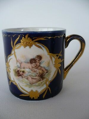 Antique 1902 Porcelain Childs Mug Cup Cobalt Blue & Gold Putti Figure