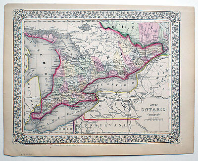 1870 Ontario Canada, Mitchell Antique Hand-Colored Map