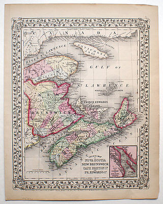 1870 Nova Scotia New Brunswick Canada, Mitchell Antique Hand-Colored Map
