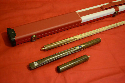 3/4 Handmade Ash Snooker / Pool Cue + St George's Cross Case Set All Included