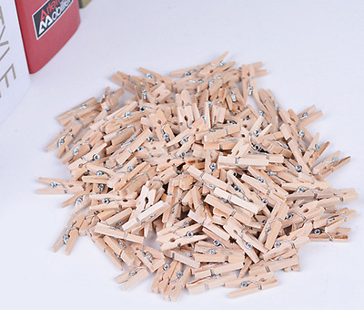 Home 100pcs Mini Wood Clip Clothespins Laundry Photo Paper Peg Art Craft UK