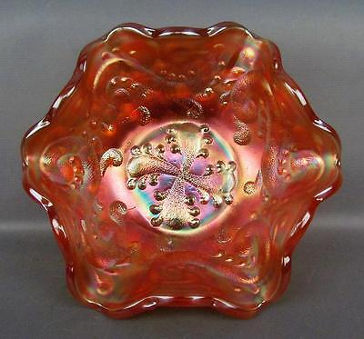 CARNIVAL GLASS - FENTON FEATHERED SERPENT Marigold Ruffled Sauce