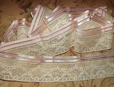 "3.05 yds Antique Vintage Alencon Net Ribbon Edging Lace  2 3/4"" wide"