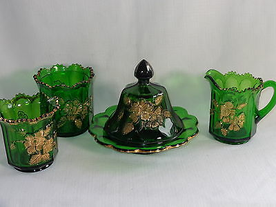 Northwood EAPG Pattern Glass Green & Gold ~ ROSE ~ 4 Pc Table Set w/ Butter Dish