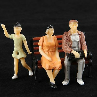10 Model People Figures For Train Railway Layout Scenery DIY Scale 1:25 Painted