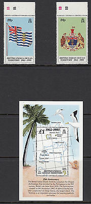 BRITISH INDIAN OCEAN TERRITORY :1990 25th Anniversary set +MS SG108-9+MS110 MNH
