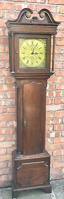 Good Antique Brass Dial Oak Longcase Grandfather Clock : John Hartley Halifax ?