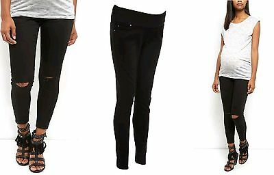 New Look Black Maternity Ripped Knee Jeans Denim Smart Trousers Size 8 - 20