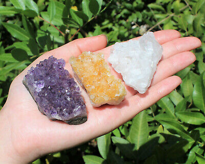 Citrine Amethyst Clear Quartz Crystal Clusters: 3 Piece Lot (Druze Specimen)