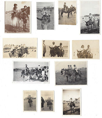 Children Riding Donkeys at the Seaside Job Lot of 12x Vintage Photos c1930-1960