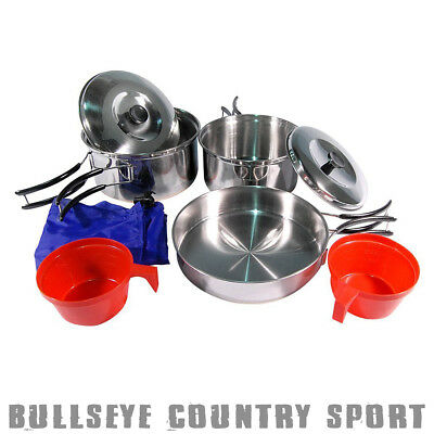 Mil-Tec Stainless Steel Army 2 Person Portable Camping Cook Set Bushcraft 47000