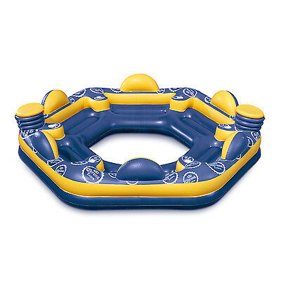 Corona 6-Person Giant Inflatable Island Raft with Built-In Coolers & Cup Holders