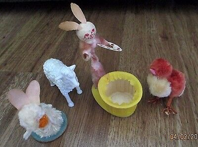 Vintage Easter Spun Cotton Chenille Bunny Chick Lamb Bunnies Old Easter Lot